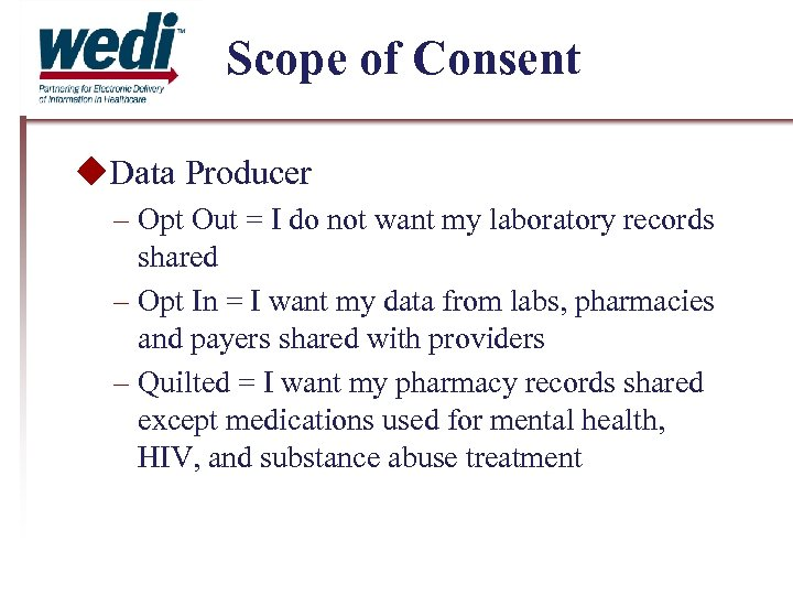 Scope of Consent Data Producer – Opt Out = I do not want my