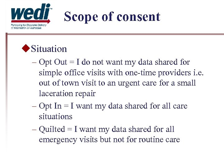 Scope of consent Situation – Opt Out = I do not want my data