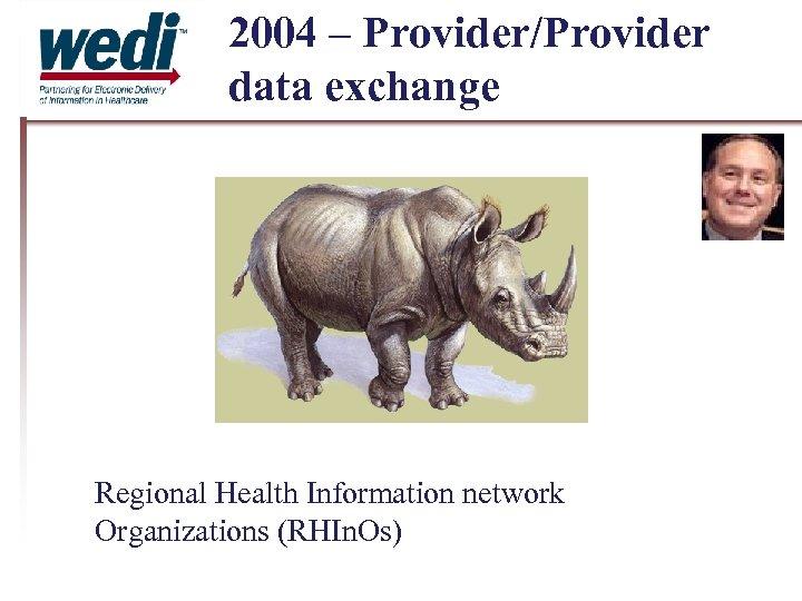 2004 – Provider/Provider data exchange Regional Health Information network Organizations (RHIn. Os)