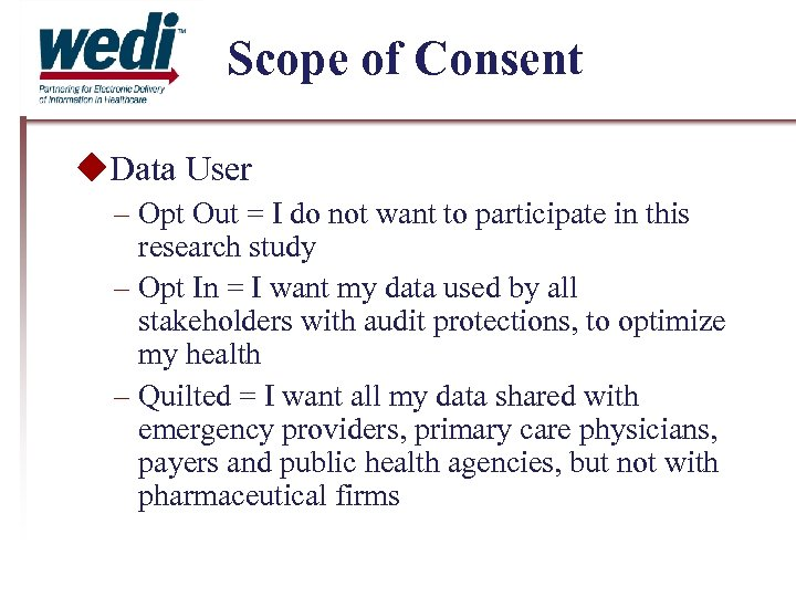 Scope of Consent Data User – Opt Out = I do not want to