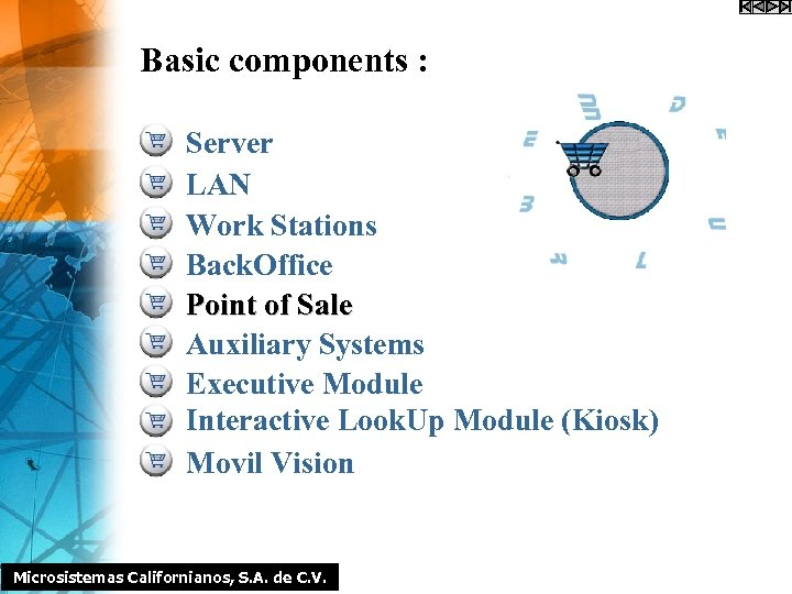 Basic components : Server LAN Work Stations Back. Office Point of Sale Auxiliary Systems