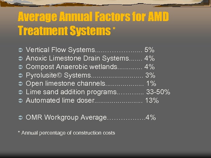 Average Annual Factors for AMD Treatment Systems * Ü Ü Ü Ü Vertical Flow