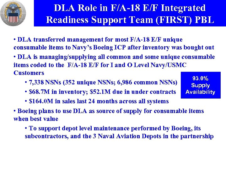DLA Role in F/A-18 E/F Integrated Readiness Support Team (FIRST) PBL • DLA transferred
