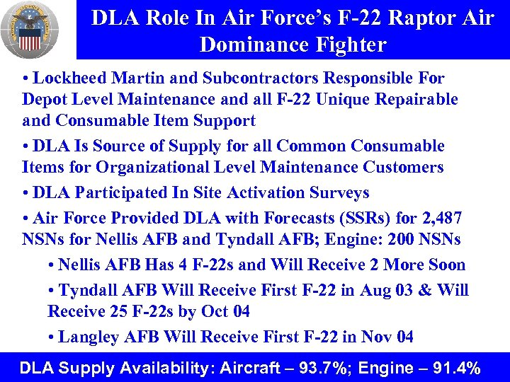 DLA Role In Air Force's F-22 Raptor Air Dominance Fighter • Lockheed Martin and