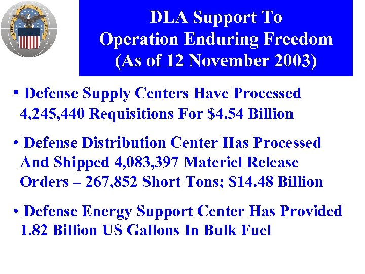 DLA Support To Operation Enduring Freedom (As of 12 November 2003) • Defense Supply
