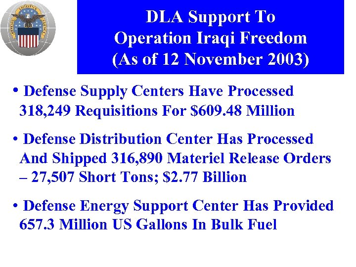 DLA Support To Operation Iraqi Freedom (As of 12 November 2003) • Defense Supply