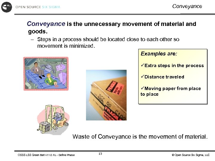Conveyance is the unnecessary movement of material and goods. – Steps in a process