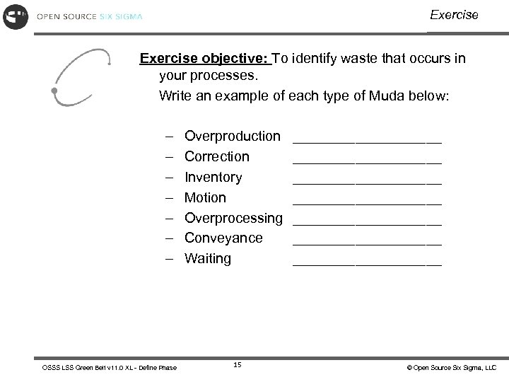 Exercise objective: To identify waste that occurs in your processes. Write an example of