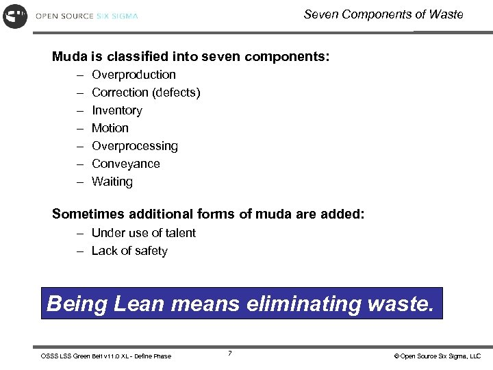 Seven Components of Waste Muda is classified into seven components: – – – –