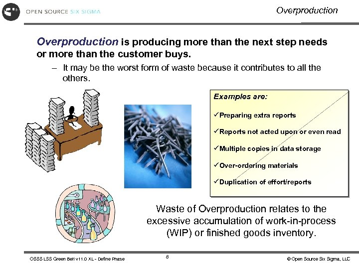 Overproduction is producing more than the next step needs or more than the customer