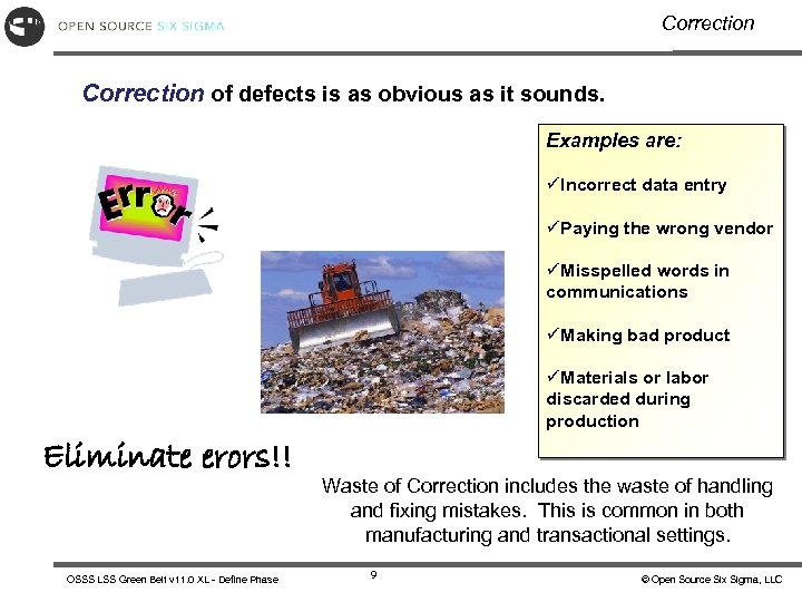 Correction of defects is as obvious as it sounds. Examples are: üIncorrect data entry