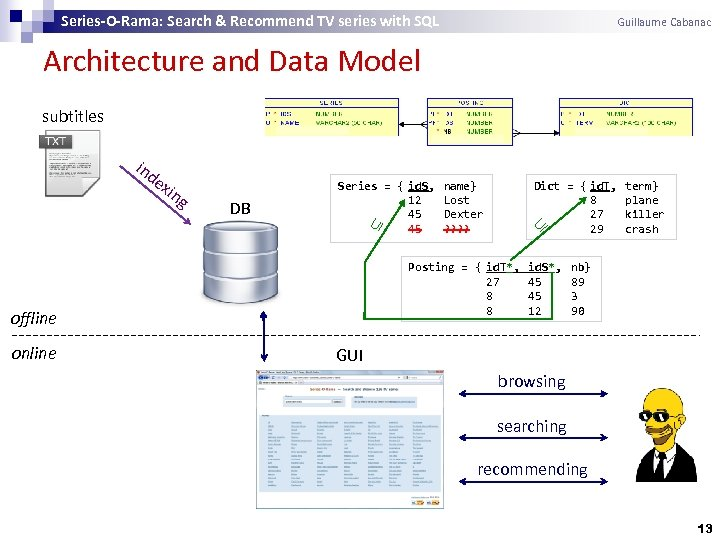 Series-O-Rama: Search & Recommend TV series with SQL Guillaume Cabanac Architecture and Data Model