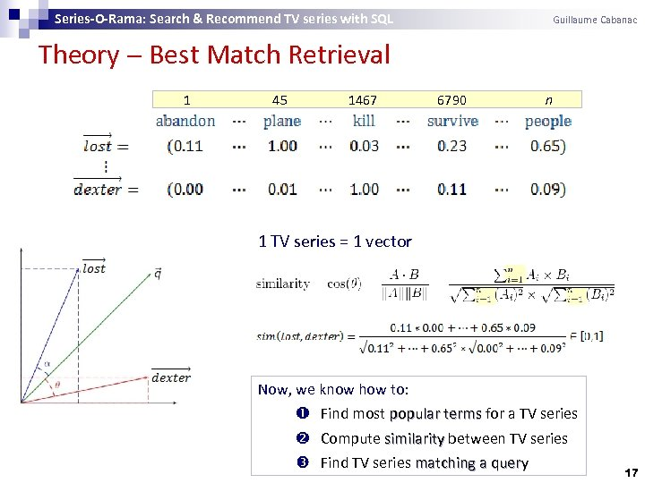 Series-O-Rama: Search & Recommend TV series with SQL Guillaume Cabanac Theory Best Match Retrieval