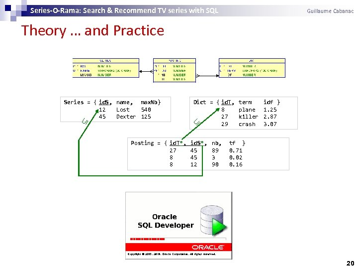Series-O-Rama: Search & Recommend TV series with SQL Guillaume Cabanac Theory … and Practice
