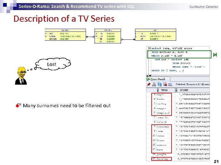 Series-O-Rama: Search & Recommend TV series with SQL Guillaume Cabanac Description of a TV