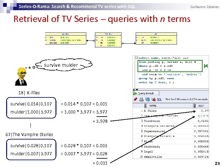 Series-O-Rama: Search & Recommend TV series with SQL Guillaume Cabanac Retrieval of TV Series
