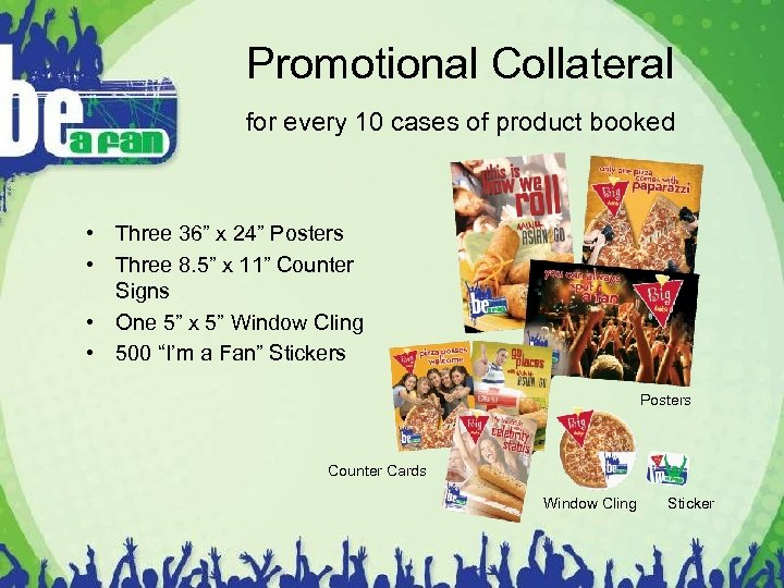 "Promotional Collateral for every 10 cases of product booked • Three 36"" x 24"""