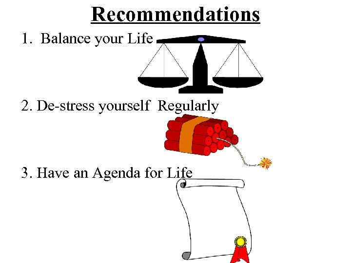Recommendations 1. Balance your Life 2. De-stress yourself Regularly 3. Have an Agenda for