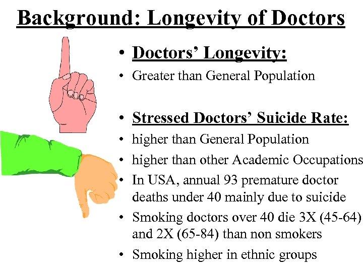 Background: Longevity of Doctors • Doctors' Longevity: • Greater than General Population • Stressed