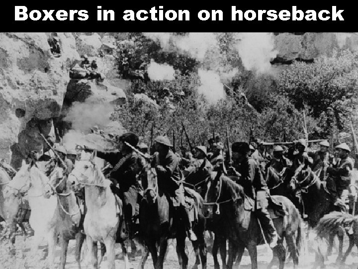 Boxers in action on horseback