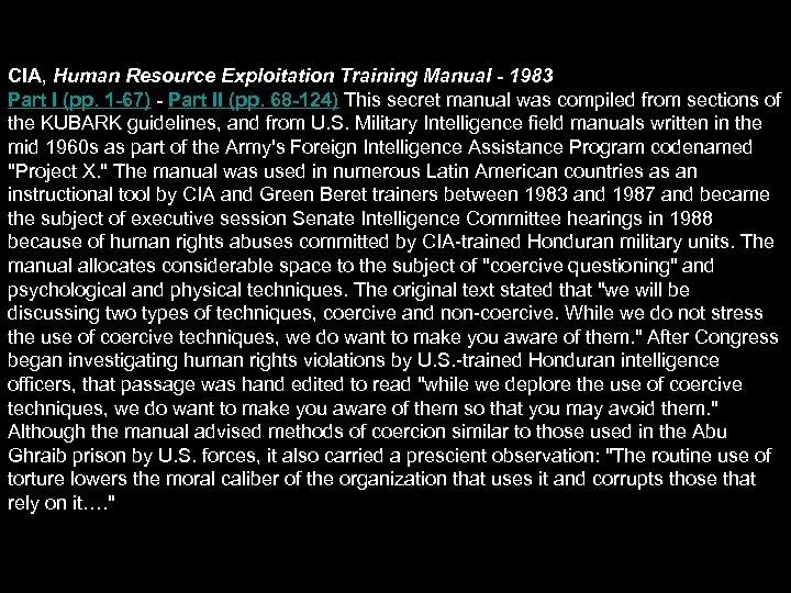 CIA, Human Resource Exploitation Training Manual - 1983 Part I (pp. 1 -67) -