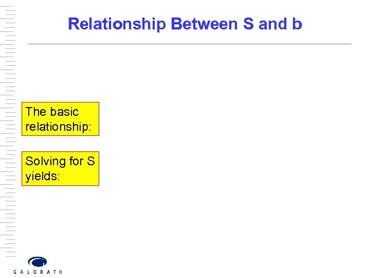 Relationship Between S and b The basic relationship: Solving for S yields: