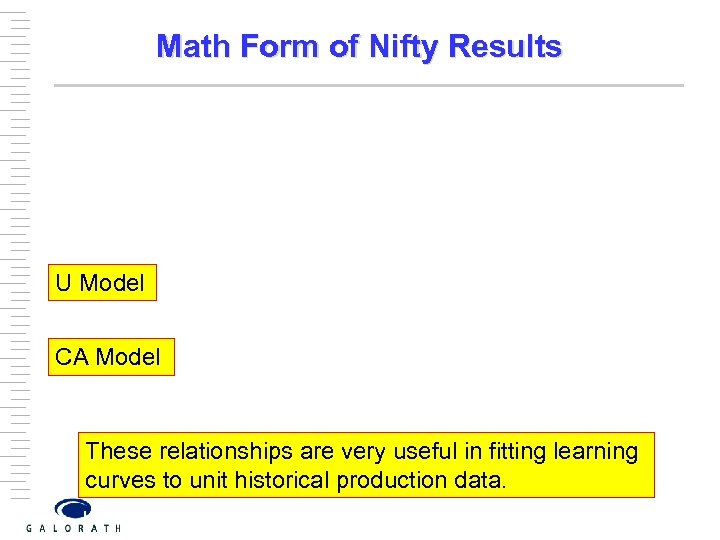 Math Form of Nifty Results U Model CA Model These relationships are very useful