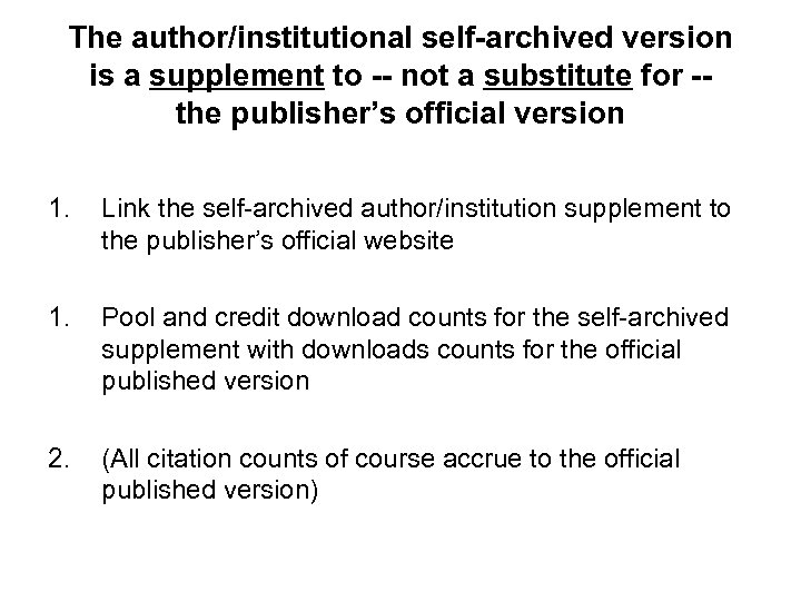 The author/institutional self-archived version is a supplement to -- not a substitute for -the