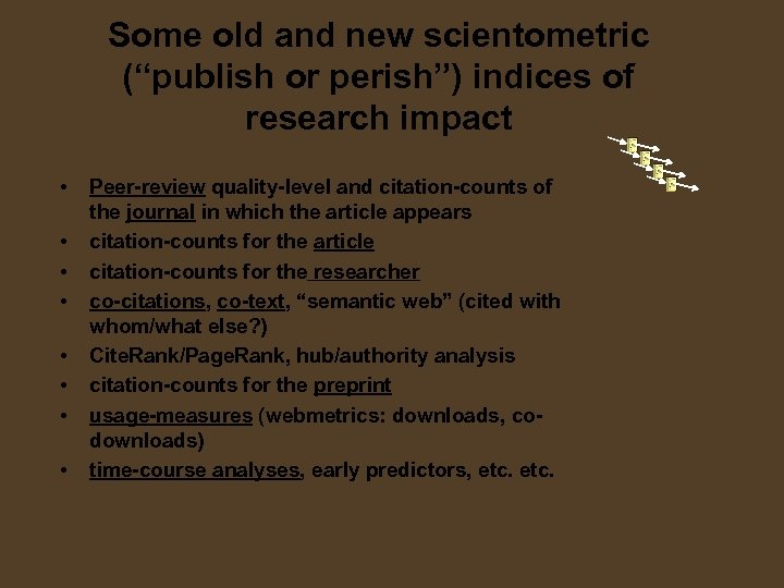 """Some old and new scientometric (""""publish or perish"""") indices of research impact • •"""