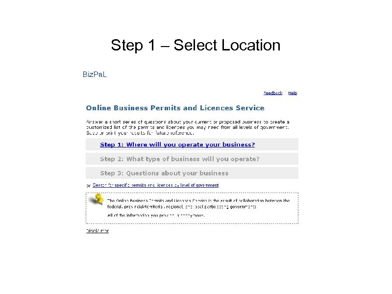 Step 1 – Select Location
