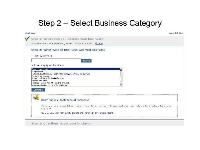 Step 2 – Select Business Category