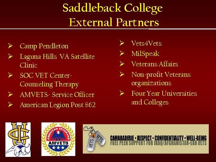 Saddleback College External Partners Ø Camp Pendleton Ø Laguna Hills VA Satellite Clinic Ø