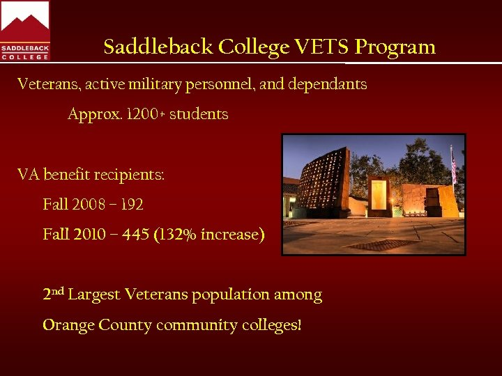 Saddleback College VETS Program Veterans, active military personnel, and dependants Approx. 1200+ students VA