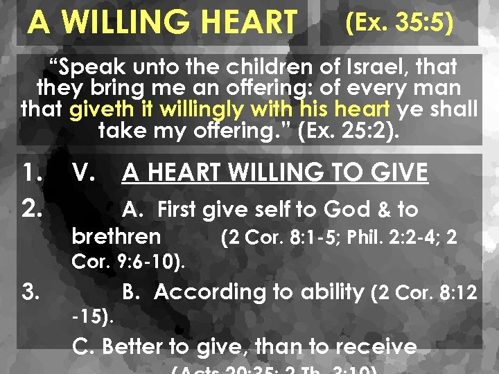 "A WILLING HEART (Ex. 35: 5) ""Speak unto the children of Israel, that they"