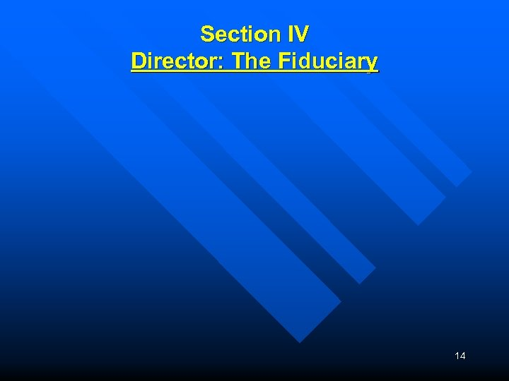 Section IV Director: The Fiduciary 14