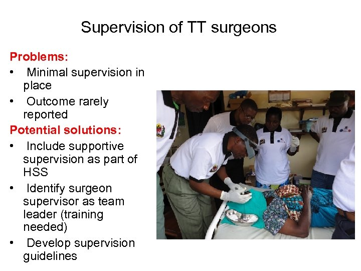 Supervision of TT surgeons Problems: • Minimal supervision in place • Outcome rarely reported