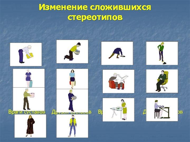 Изменение сложившихся стереотипов Враги суставов Друзья суставов Враги суставов Друзья суставов
