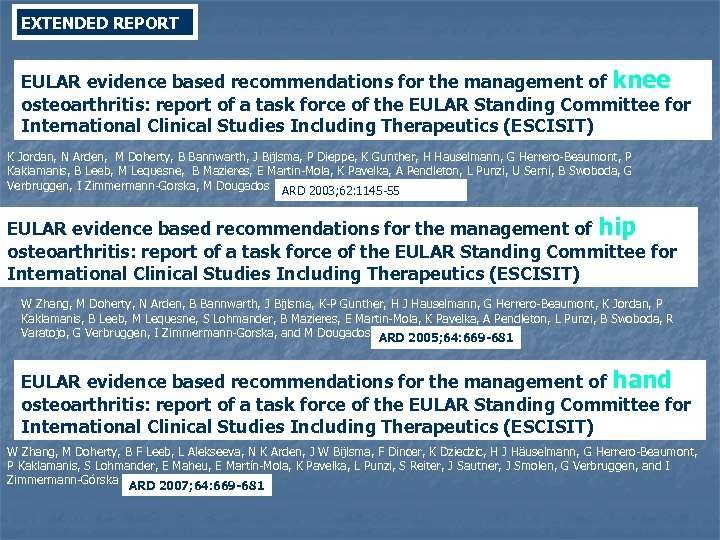 EXTENDED REPORT EULAR evidence based recommendations for the management of knee osteoarthritis: report of