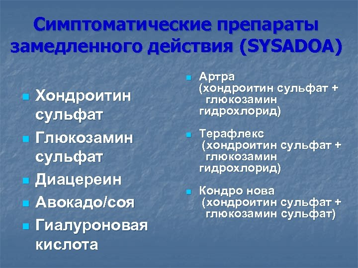 Симптоматические препараты замедленного действия (SYSADOA) n n n Хондроитин сульфат Глюкозамин сульфат Диацереин Авокадо/соя