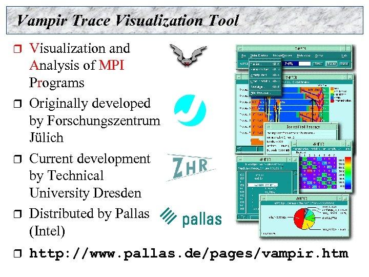 Vampir Trace Visualization Tool r r r Visualization and Analysis of MPI Programs Originally