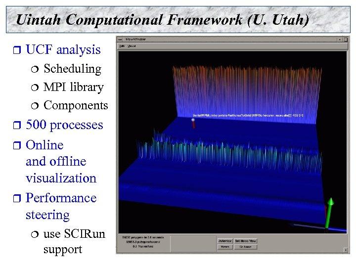 Uintah Computational Framework (U. Utah) r UCF analysis Scheduling ¦ MPI library ¦ Components