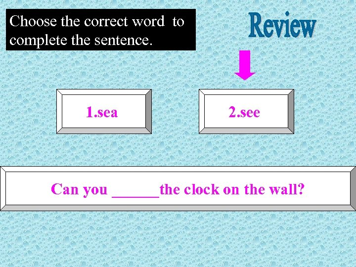 Choose the correct word to complete the sentence. 1. sea 2. see Can you