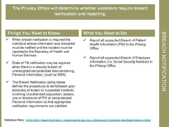 The Privacy Office will determine whether violations require breach notification and reporting. ü When