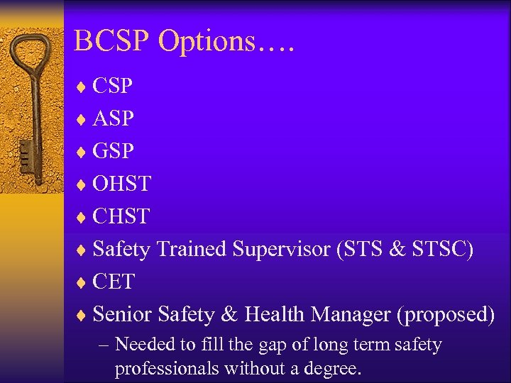 BCSP Options…. ¨ CSP ¨ ASP ¨ GSP ¨ OHST ¨ CHST ¨ Safety