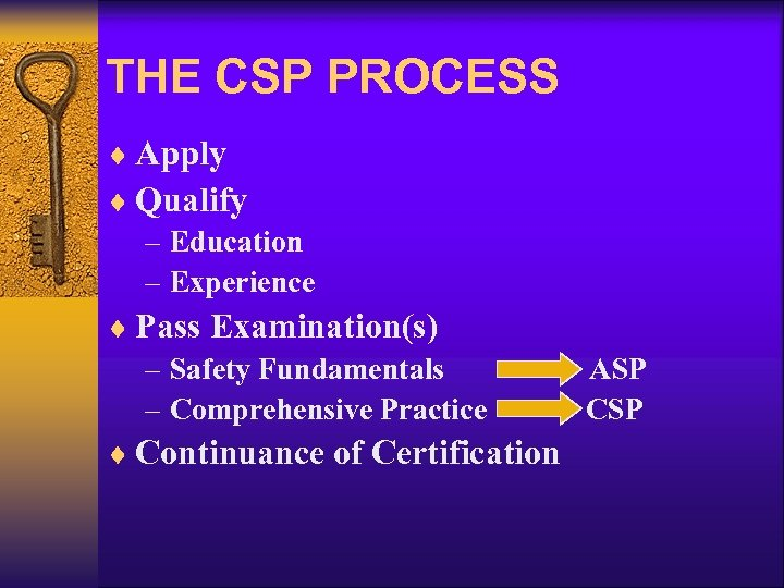 THE CSP PROCESS ¨ Apply ¨ Qualify – Education – Experience ¨ Pass Examination(s)