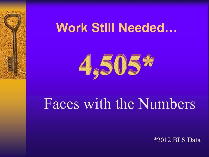 Work Still Needed… 4, 505* Faces with the Numbers *2012 BLS Data
