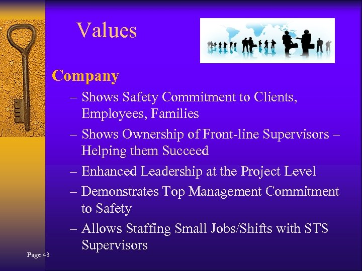 Values Company Page 43 – Shows Safety Commitment to Clients, Employees, Families – Shows