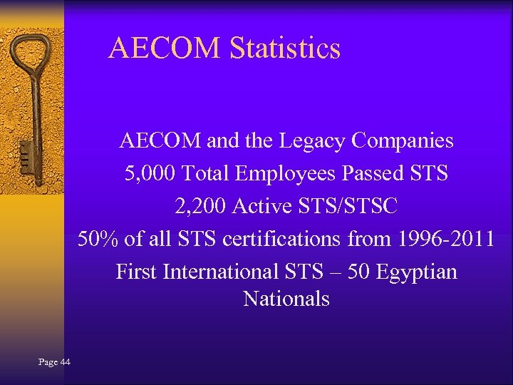 AECOM Statistics AECOM and the Legacy Companies 5, 000 Total Employees Passed STS 2,