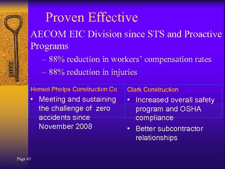 Proven Effective AECOM EIC Division since STS and Proactive Programs – 88% reduction in