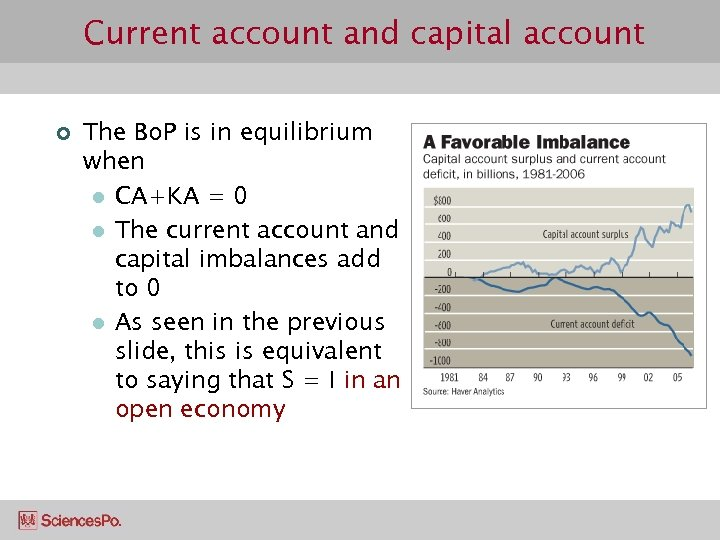 Current account and capital account ¢ The Bo. P is in equilibrium when l